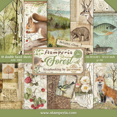 "Stamperia Scrapbooking 12"" x 12"" Paper Pad by Cristina Radovan - Forest - 10 Double Faced Sheets - SBBL63"