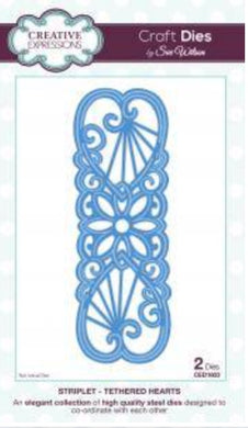 Creative Expressions Craft Dies by Sue Wilson Striplet - Tethered Hearts 2 Dies