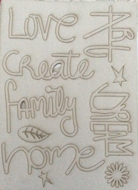 A4 Mixed Media Greyboard Words - Love