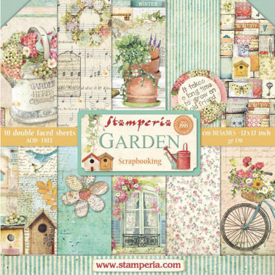 "Stamperia Scrapbooking 12"" x 12"" Paper Pad - Garden - 10 Double Faced Sheets - SBBL43"