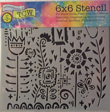 "TCW Arts by Marlene Designs - Stencils - Mini Joyful Flowers 6""x 6"""