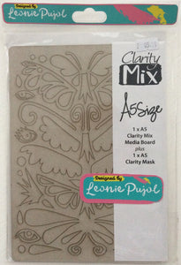 Clarity Mix A5 Mixed Media Board & A5 Mask Set- Wing Shapes