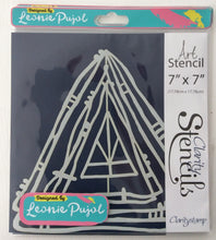"Clarity Art Stencils by Leonie Pujol - Nested Triangle Scribbles 7""x 7"""