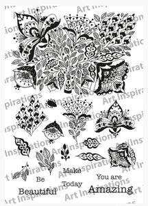 Art Inspirations by Wensdi Made A5 Clear Stamp Sheet - Floral Be Amazing - 19 Stamps