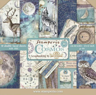 "Stamperia Scrapbooking 12"" x 12"" Paper Pad by Cristina Radovan - Cosmos - 10 Double Faced Sheets - SBBL56"