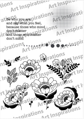 Art Inspirations by Wensdi Made A5 Clear Stamp Sheet - Flower Embellishments -  13 Stamps
