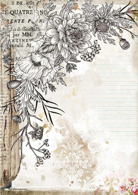 Stamperia A4 Rice Paper Packed Romantic Journal Stylized Flower DFSA4553