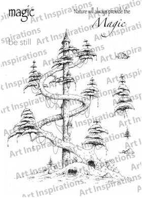 Art Inspirations with Brejanzart A5 Stamp Set - Magic Tree Towertown - 8 Stamps