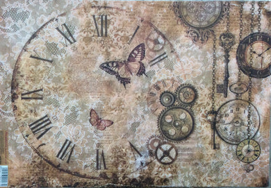 Stamperia Decoupage Rice Paper A3 Steampunk, Gears, Laces & Butterflies DFS386