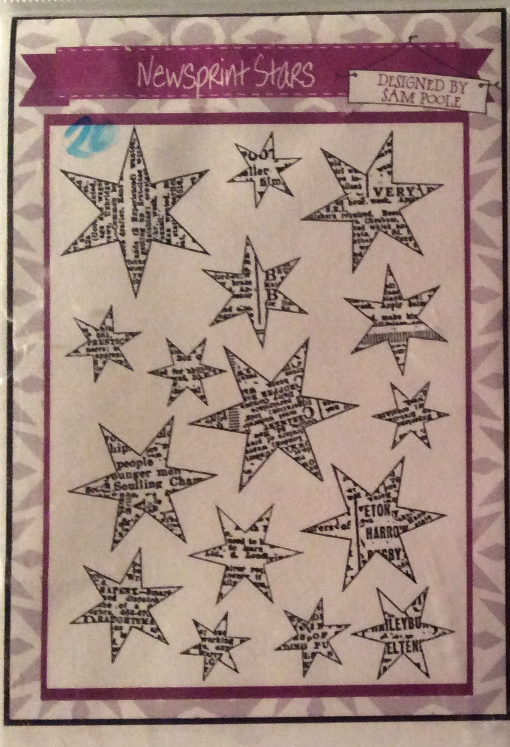 Creative Expressions Designed by Sam Poole - Rubber Stamp - Newsprint Stars A6