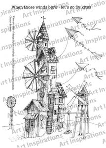 Art Inspirations with Brejanzart A5 Stamp Set - Windmill Towers - 4 Stamps