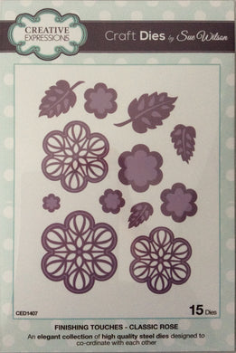 Creative Expressions Craft Dies by Sue Wilson Finishing Touches - Classic Rose 15 Dies