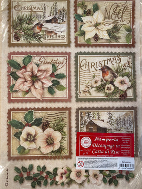 Stamperia Rice Paper decoupage A4 Christmas flowers, poinsettia, robin  DFSA4342