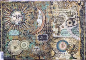 Stamperia Decoupage Rice Paper A3 Alchemy Sun & Moon DFS384