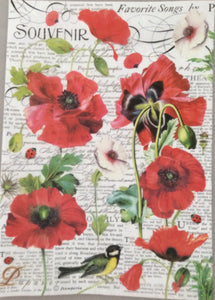 Stamperia Decoupage Rice Paper A4 Poppies & Bird DFSA4306