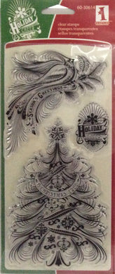 "Inkadinkado Calligraphy Holiday Favorites Christmas Clear 3 Piece Stamp Set-4"" x 10"""