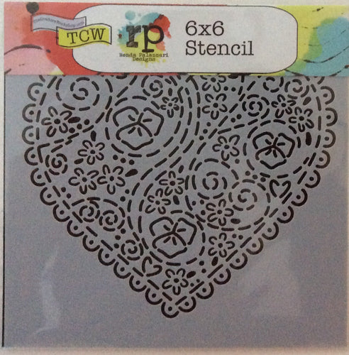"TCW Ronda Palazzari Stencils - Mini Embroidered Heart 6""x 6"""