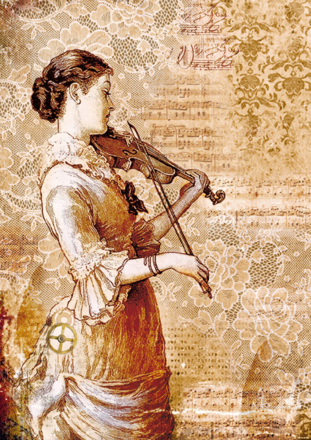 Stamperia - Steampunk Woman with Violin Decoupage Rice Paper A4