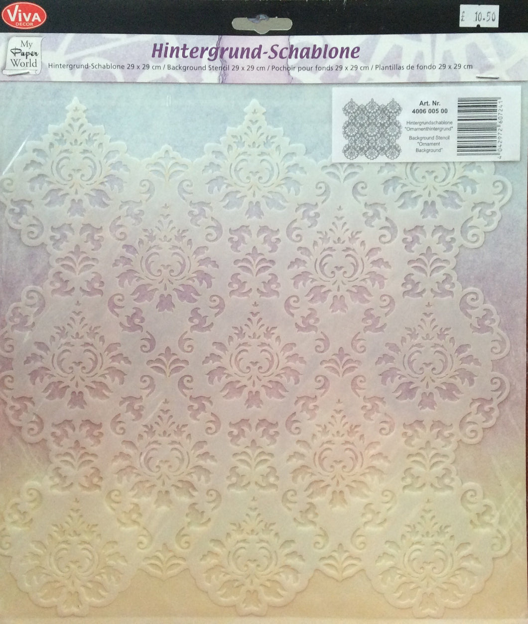 Viva Decor My Paper World Hintergrund - Schablone - Background Stencil Ornament 29cm x 29cm