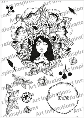Art Inspirations by Wensdi Made A5 Clear Stamp Sheet - Mindful Lady - 13 Stamps
