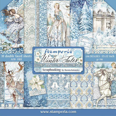 "Stamperia Scrapbooking 12"" x 12"" Paper Pad by Dorota Kotowicz - Winter Tales - 10 Double Faced Sheets - SBBL76"