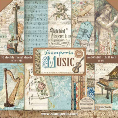 "Stamperia Scrapbooking 12"" x 12"" Paper Pad - Music - 10 Double Faced Sheets - SBBL48"