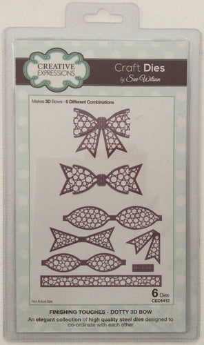 Creative Expressions Craft Dies by Sue Wilson Finishing Touches - Dotty 3D Bow - Set of 6 Dies
