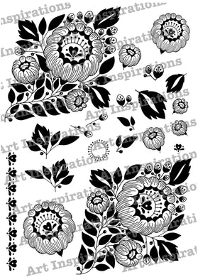 Art Inspirations by Wensdi Made A5 Clear Stamp Sheet - Floral Diamond Border - 21 Stamps