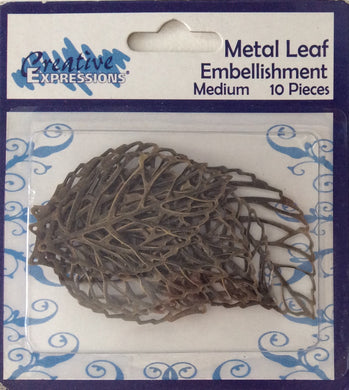Creative Expressions Metal Leaf Embellishments 10 Pieces