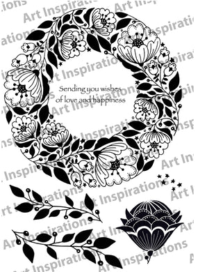 Art Inspirations by Wensdi Made A5 Clear Stamp Sheet - Floral Wishes - 6 Stamps