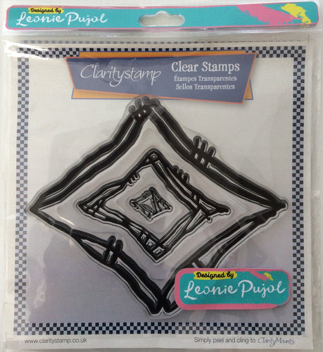 Clarity Stamp Unmounted Clear Stamp Set of 3 Designed by Leonie Pujol-Nested Diamond Scribbles