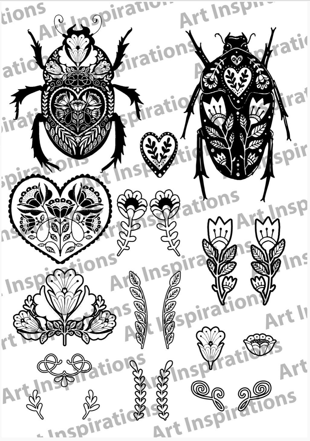 Art Inspirations by Wensdi Made A5 Clear Stamp Sheet - The Beetles - 20 Stamps