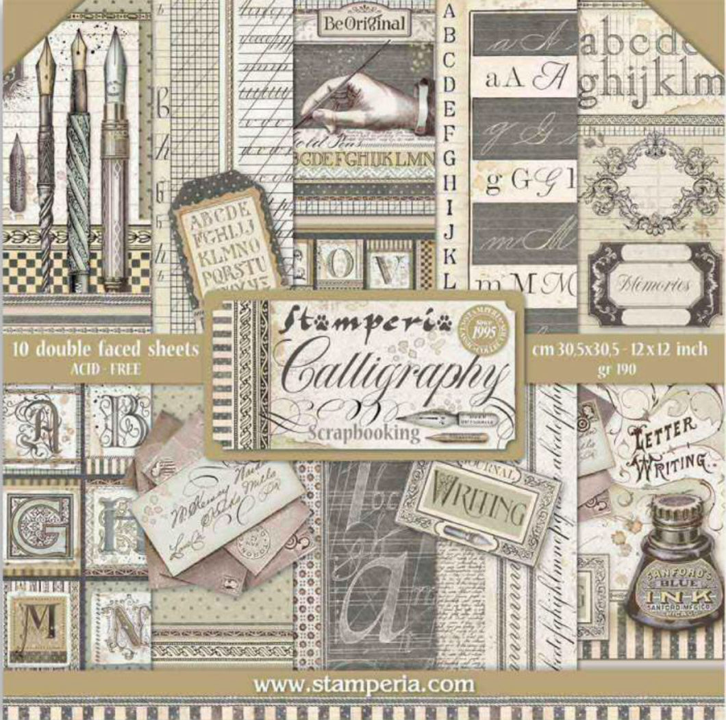 "Stamperia Scrapbooking 12"" x 12"" Paper Pad - Calligraphy - 10 Double Faced Sheets - SBBL79"