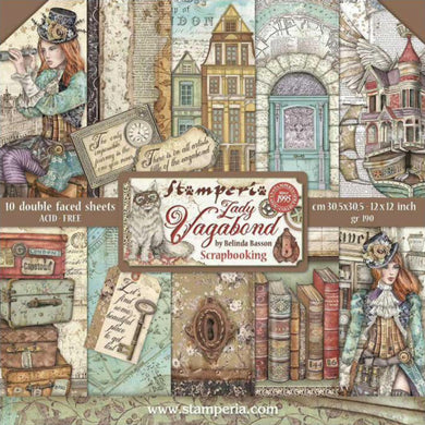 "Stamperia Scrapbooking 12"" x 12"" Paper Pad by Belinda Basson - Lady Vagabond - 10 Double Faced Sheets - SBBL82"
