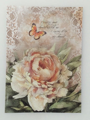 Stamperia Decoupage Rice Paper A4 Rose with Lace