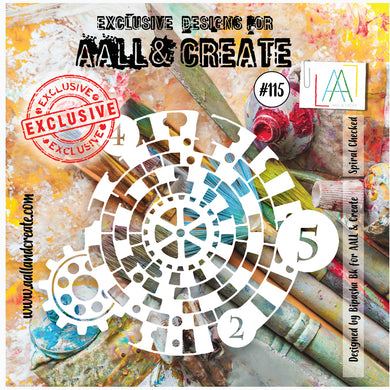 "AALL & Create Stencil designed by Bipasha Bk 6""x 6"" Spiral Checked #115"