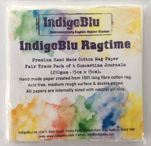 Indigo Blu Ragtime Premium Hand Made Cotton Rag Journal 210 gsm 15 x 15cm Pack of 4 Concertina Journals