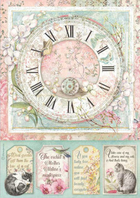 Stamperia - Packed Clock Decoupage Rice Paper A4 DFSA4513