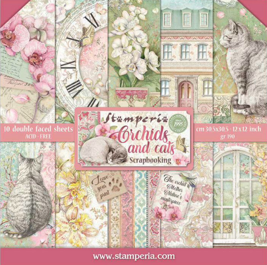 "Stamperia Scrapbooking 12"" x 12"" Paper Pad - Orchards and Cats - 10 Double Faced Sheets - SBBL81"