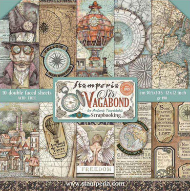 "Stamperia Scrapbooking 12"" x 12"" Paper Pad by Antonis Tzanidakis - Sir Vagabond - 10 Double Faced Sheets - SBBL80"