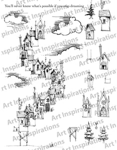 Art Inspirations with Brejanzart A4 Stamp Set - Town Hi-Rise - 17 Stamps