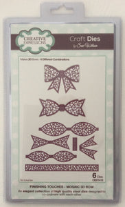 Creative Expressions Craft Dies by Sue Wilson Finishing Touches - Mosaic 3D Bow - Set of 6 Dies