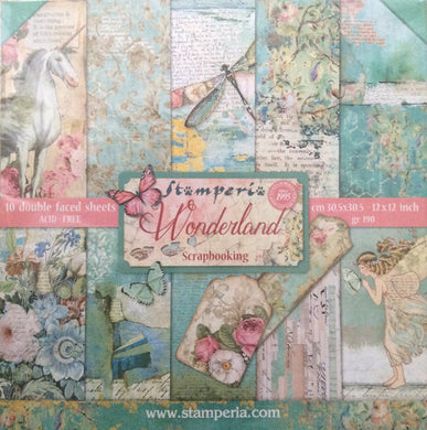 "Stamperia Scrapbooking 12"" x 12"" Paper Pad - Wonderland - 10 Double Faced Sheets - SBBL38"