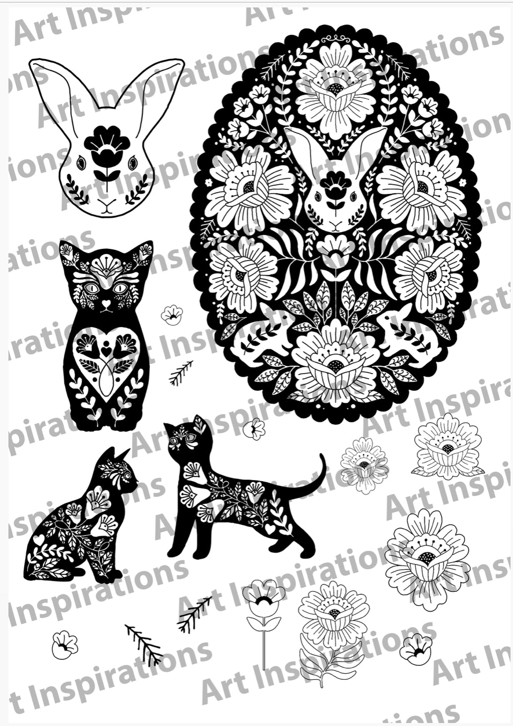 Art Inspirations by Wensdi Made A5 Clear Stamp Sheet - Lucky Rabbit and Cat - 17 Stamps