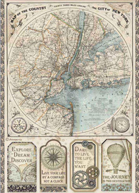 Stamperia - Packed Sir Vagabond Map of New York Decoupage Rice Paper A4 DFSA4515