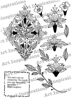 Art Inspirations by Wensdi Made A5 Clear Stamp Sheet - Use Creativity - 12 Stamps