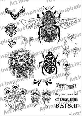 Art Inspirations by Wensdi Made A5 Clear Stamp Sheet - Floral Bee and Beetle - 18 Stamps