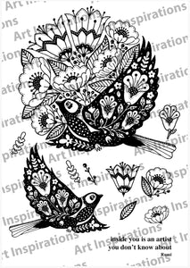 Art Inspirations by Wensdi Made A5 Clear Stamp Sheet - Majestic Birds - 11 Stamps