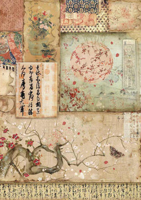 Stamperia - Packed Branch & Writings Decoupage Rice Paper A4 DFSA4394
