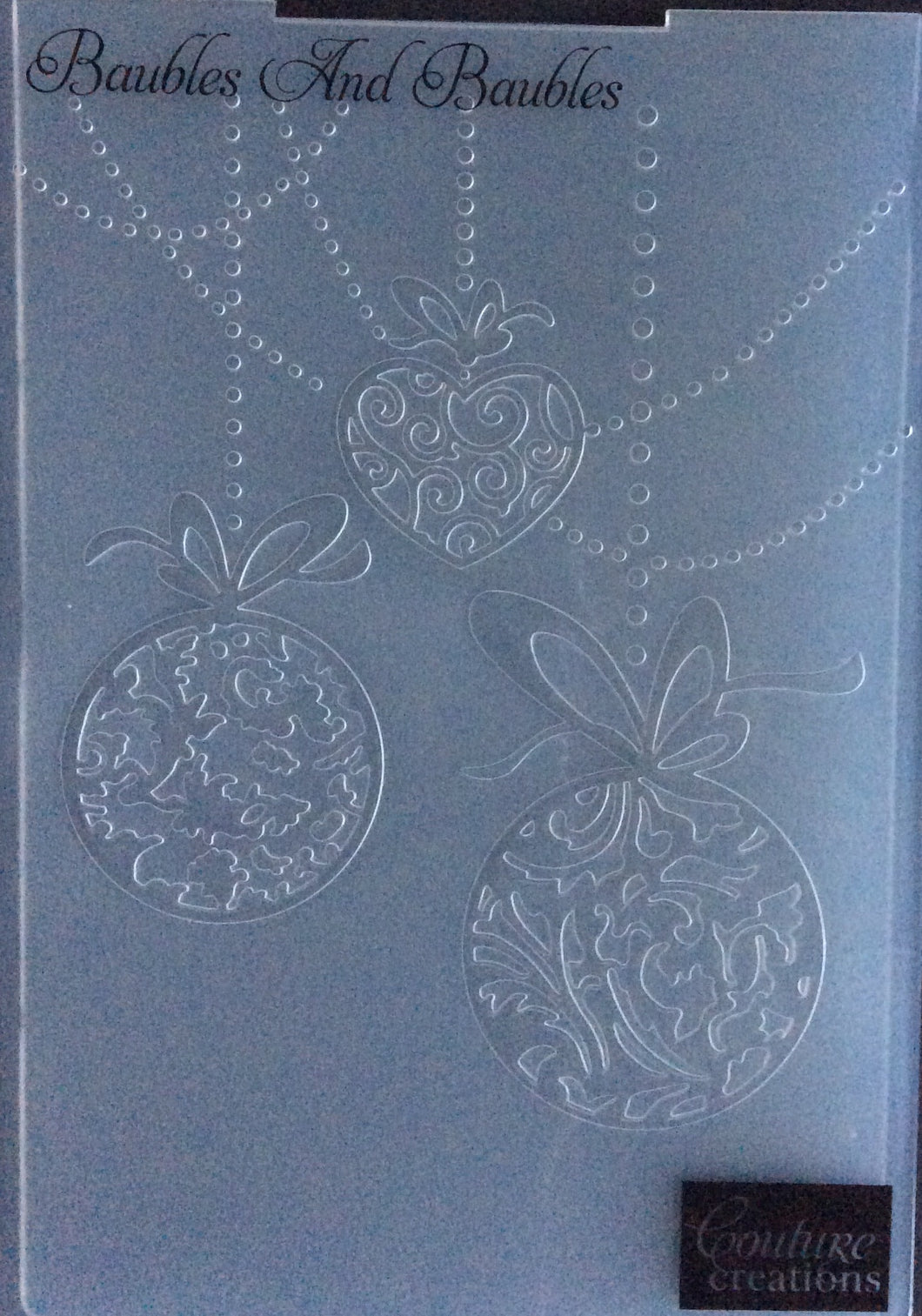 Couture Creations Embossing Folder - Christmas Collection: Baubles and Baubles